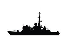 Battle Ship Silhouette Vector, Military Transportation