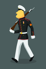 US Marine In Flat Style