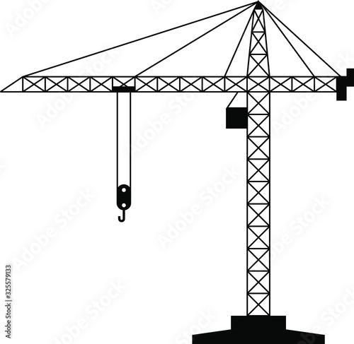 Fotografiet Construction crane vector icon.