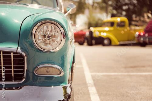Old vintage car headlights close-up
