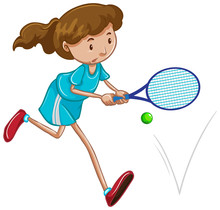 Athlete Playing Tennis On Whit...