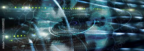 Fototapeta New Technology and Telecommunication Concept. 3D Planet on website header server banner. obraz
