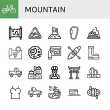 Mountain Simple Icons Set
