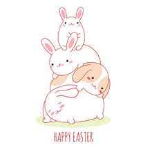 Happy Easter Card With Cute Fa...