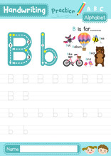 Letter B Uppercase And Lowercase Tracing Practice Worksheet A4