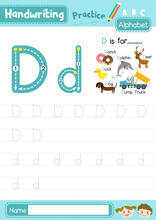 Letter D Uppercase And Lowercase Tracing Practice Worksheet A4