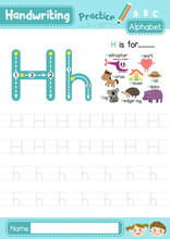 Letter H Uppercase And Lowercase Tracing Practice Worksheet A4