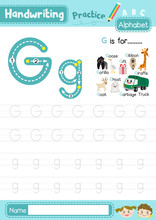 Letter G Uppercase And Lowercase Tracing Practice Worksheet A4