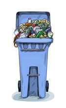 Overloaded Trash Bin, Full Color Sketch Hand Drawn