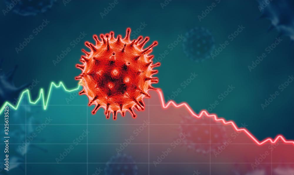 Fototapeta Coronavirus economic impact concept image