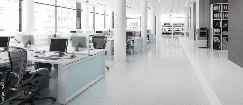 Fototapeta Modern Office Furnishings - panoramic 3d visualization