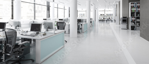 Fototapeta Modern Office Furnishings - panoramic 3d visualization obraz