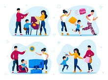 Family Shopping, Naughty Kid, Child Education Trendy Flat Vector Concepts Set. Parents With Children Visiting Drawing Lessons, Buying Toys On Sale, Fooling Around And Playing Video Games Illustration