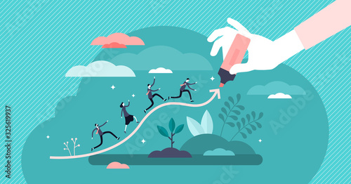 Fotomural Chart line concept, flat tiny businessman persons vector illustration