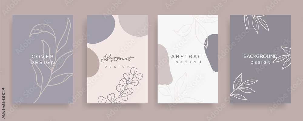 Fototapeta Floral line arts and organic shape cover design template for social media stories, post, sale banner, poster, cover design, Minimal and natural earth tone  color theme wedding invitation cards.