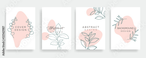 Floral line arts and organic shape cover design template for social media stories, post, sale banner, poster, cover design, Minimal and natural earth tone  color theme wedding invitation cards.