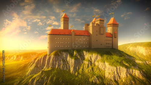 Canvas-taulu Medieval Castle on the Rock