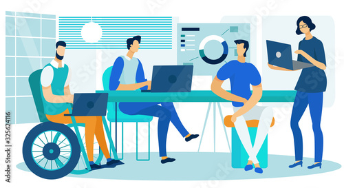 Obraz Business Analytics Creative Team Working in Office. Cartoon Male and Female Colleagues Characters Brainstorming and Analyzing Data on Laptop with Disabled Man in Wheelchair. Vector Flat Illustration - fototapety do salonu