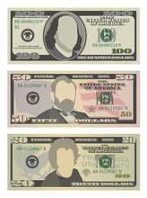 Set Of One Hundred Dollars, Fifty Dollars And Twenty Dollar Bills. 100, 50 And 20 US Dollars Banknotes. Vector Illustration Of USD Isolated On White Background