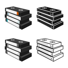 Isolated Object Of Cassette And Videotape Logo. Graphic Of Cassette And Stack Vector Icon For Stock.