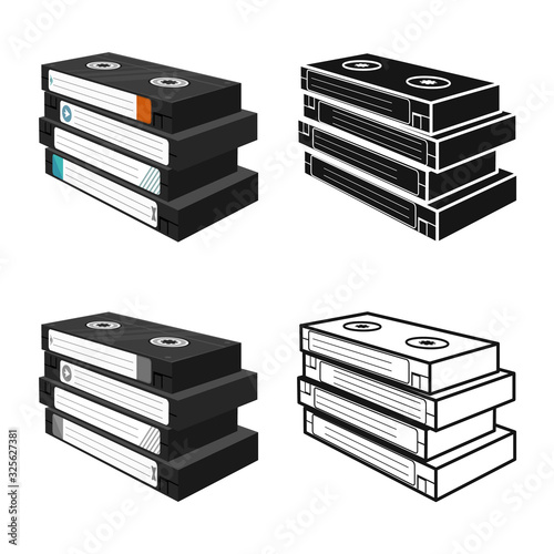 Fototapeta Isolated object of cassette and videotape logo