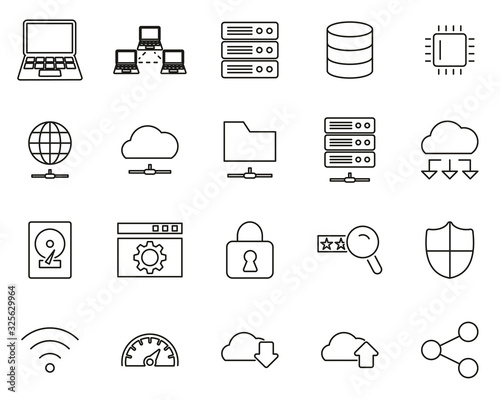 Server & Data Center Icons Black & White Thin Line Set Big
