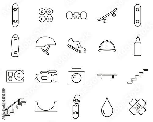 Skateboarding Extreme Sport & Equipment Icons Black & White Thin Line Set Big