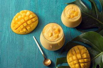 Mango lassi drink, sweet tropical smoothie
