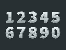 Silver 3d Numbers. Realistic Shiny Metallic Number Symbols With Shadows, Creative Chrome Digits, Credit Cards Font, Typographic Vector Set