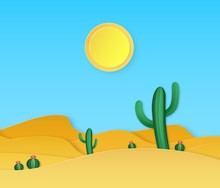 Paper Desert. Summer Landscape With Paper Cut Succulents Cactuses, Sand Dunes, Sun In Origami Style Vector Background