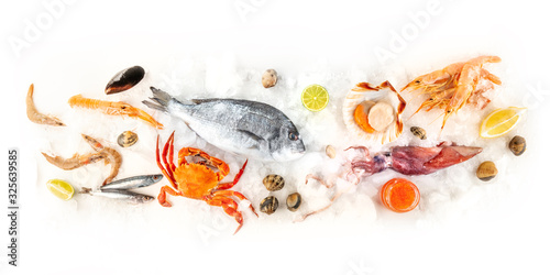Fototapeta Fish and seafood variety, a flat lay overhead panorama on a white background. Sea bream, shrimps, prawns, crab, sardines, squid, and scallops on ice with caviar and lemons obraz