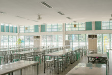 Clean School Cafeteria With Ma...