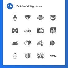 16 Vintage Filled Icons Set Is...