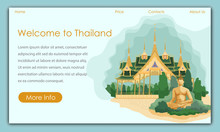 Thai Attractions And Buddha Statue. Welcome To Thailand. Vector Illustration. Traveling Different Countries. Travel Agency. Tourism Development. Website Monitor Screen. Entertainment And Leisure.