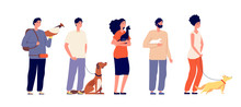 Pet Owners. Man Woman Hugging Pets. Isolated People With Cat Dog, Bird And Rat. Domestic Animals, Standing Young Friends Vector Characters. Man And Woman Character, Friend Puppy Illustration