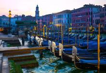 Gondolas Outside Santa Lucia Station In Venice, Italy
