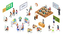 Isometric School. 3d College, ...