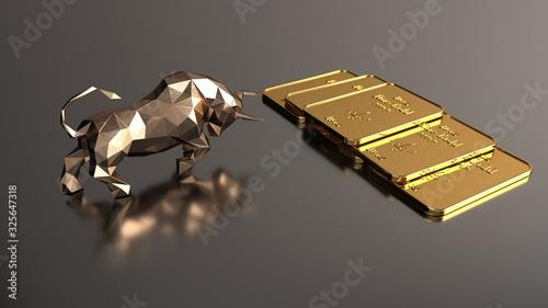 Carta da parati Rising gold prices on the stock market. 3d illustration.