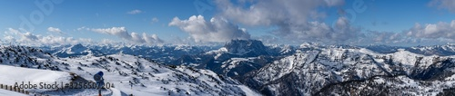 panorama photography, beautiful panoramic view over the Austrian Alps to the ...
