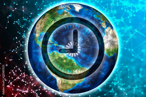 Clock or time symbol on a background of the Earth globe Canvas Print