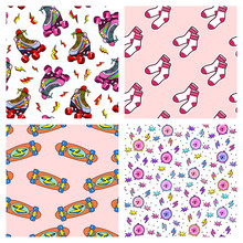 Set Of 4 Fun Seamless Patterns With Colorful Retro Elements. Back To School Style Backgrounds With Rollerblades, Socks, Skateboards, Alarm Clocks.