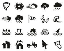 Tornado Or Hurricane Icons Bla...