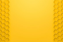Abstract Yellow Background With Honeycomb Style. Blank Rhombus Wallpaper For Website Template. 3D Rendering.