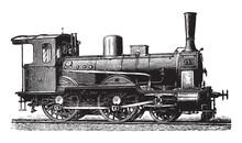 Old Locomotive / Vintage Illustration From Brockhaus Konversations-Lexikon 1908