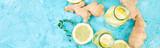 Banner of Detox water in bottles with ingredients, ginger, lemon, mint