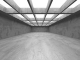 Fototapeta Perspektywa 3d - Dark Concrete Wall Architecture. Empty Room