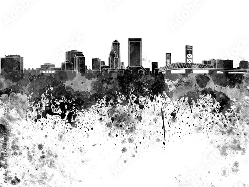 Fotografie, Obraz Jacksonville skyline in black watercolor