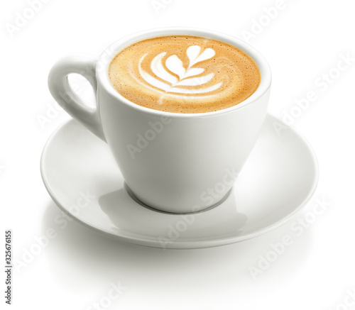 Fotografia white cup of cappuccino froth isolated on a white background