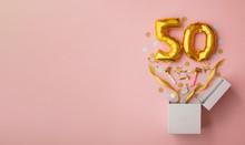 Number 50 Birthday Balloon Celebration Gift Box Lay Flat Explosion