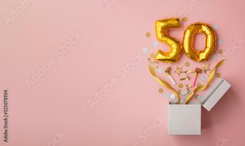 Tela Number 50 birthday balloon celebration gift box lay flat explosion